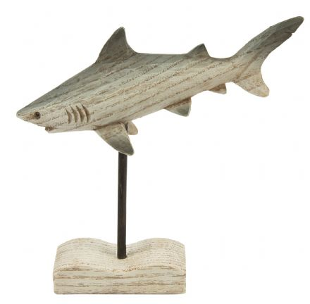 Great White Shark Wooden Ocean Ornament on Plinth